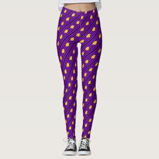Yellow kiss lips purple black stripes leggings