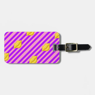 Yellow kiss lips purple pink stripes luggage tag
