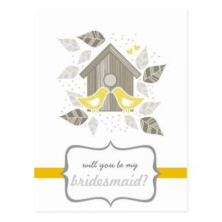 yellow kissing birds my bridesmaid postcard