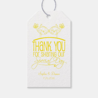 Yellow Kissing Birds Wedding Thank You Tags