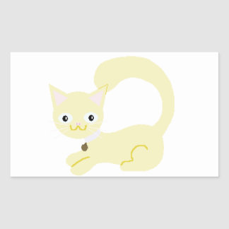 Yellow Kitty with Purple collar and Blue eyes Rectangular Sticker