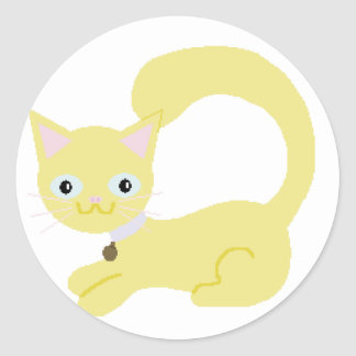 Yellow Kitty with Purple collar and Blue eyes Round Sticker