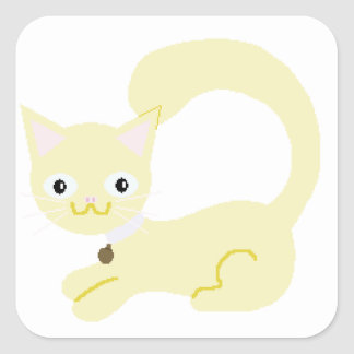 Yellow Kitty with Purple collar and Blue eyes Square Sticker