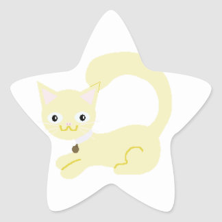 Yellow Kitty with Purple collar and Blue eyes Stickers