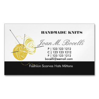 Yellow Knitting Crochet  Yarn Craft Artist Magnetic Business Cards
