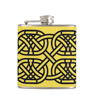 Yellow Knot Vinyl Wrapped Flask, 6 oz. Hip Flask