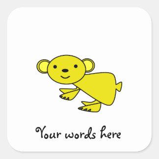 Yellow koala square sticker