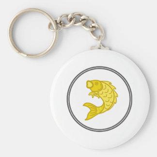 Yellow Koi Fish - Fish Prawn Crab Collection Basic Round Button Key Ring