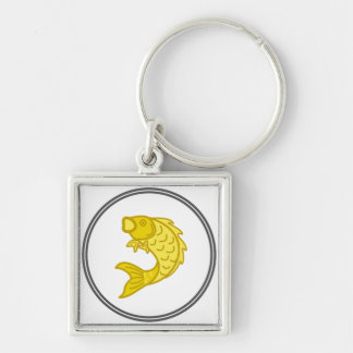 Yellow Koi Fish - Fish Prawn Crab Collection Silver-Colored Square Key Ring