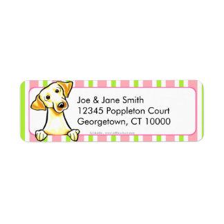 Yellow Lab Bubble Gum Stripes Return Address Label