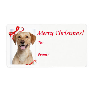 Yellow Lab Christmas Gift Stickers Shipping Label