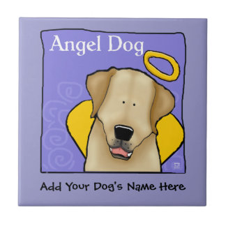 Yellow Lab Dog Angel Personalize Ceramic Tile