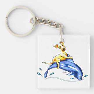 Yellow Lab Dolphin Ride Single-Sided Square Acrylic Key Ring