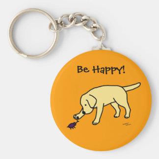 Yellow Lab Friendly Cartoon Labrador Basic Round Button Key Ring