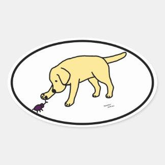 Yellow Lab Friendly Cartoon Labrador Oval Sticker