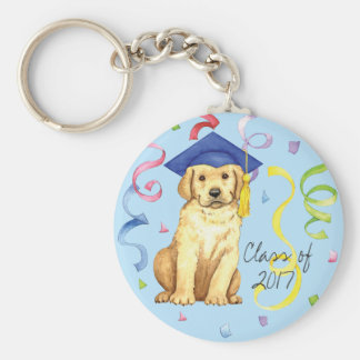Yellow Lab Graduate Basic Round Button Key Ring