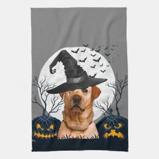 Yellow Lab Halloween Pumpkin Patch Tea Towel