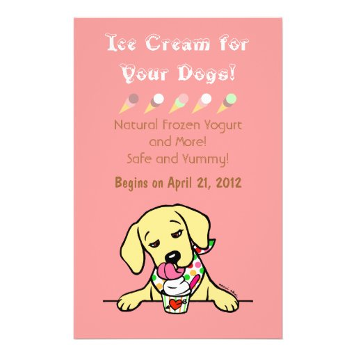 Yellow Lab Ice Cream for Dogs Flyer Full Color Flyer