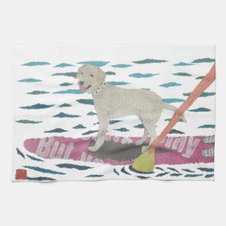 Yellow Lab, Labrador Retriever, Beach Dog Tea Towel