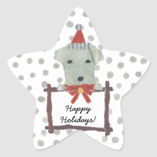 Yellow Lab, Labrador Retriever, Holidays Star Sticker
