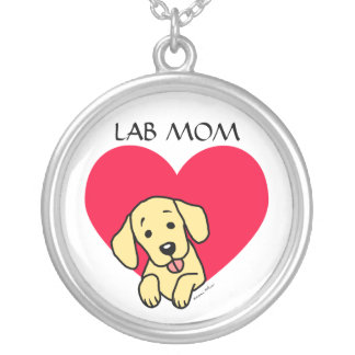 Yellow Lab Mom Silver Plated Necklace