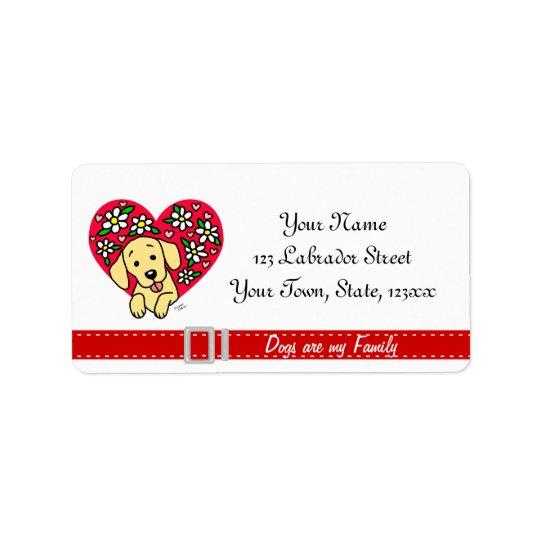 Yellow Lab Mum Cartoon Floral Heart Label