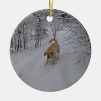 Yellow Lab Playing in Fresh Winter Snow Round Ceramic Decoration