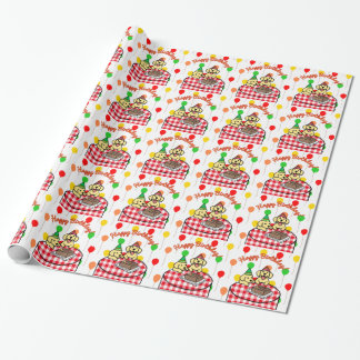 Yellow Lab Puppies Happy Birthday Wrapping Paper