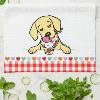 Yellow Lab Puppy Ice Cream Tea Towel