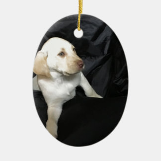 Yellow lab puppy Sadie Christmas Ornament