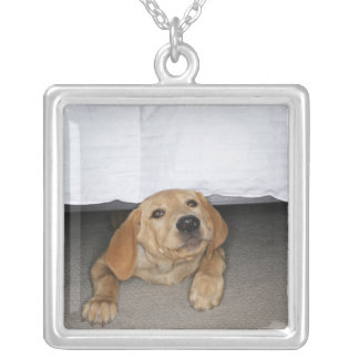 Yellow lab puppy stuck under bed custom necklace