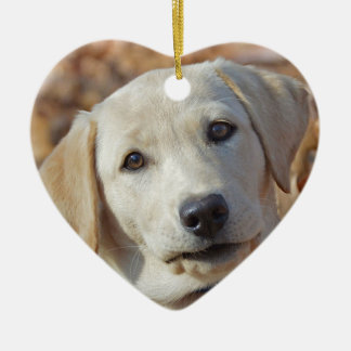 Yellow Lab Puppy Valentines Day Heart Shaped Christmas Ornament