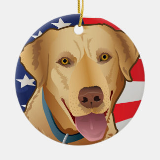 Yellow Lab Retriever of America Christmas Ornament