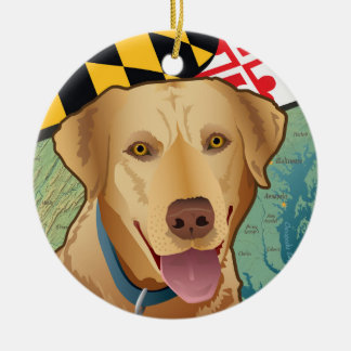 Yellow Lab Retriever of Maryland Christmas Ornament