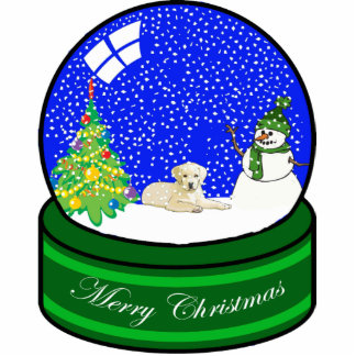 yellow lab snow globe photo sculpture decoration