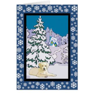 Yellow Lab Snowy Winter Greeting Card