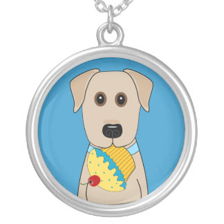 Yellow Lab with Pink Cupcake Jewelry