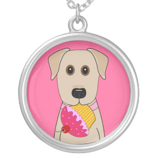 Yellow Lab with Pink Cupcake Silver Plated Necklace