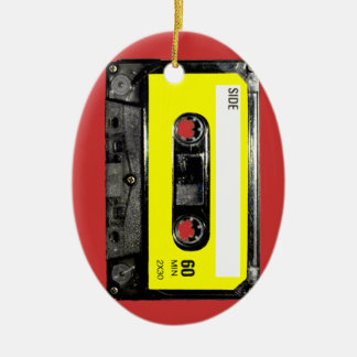 Yellow Label Vintage Cassette Ceramic Oval Decoration