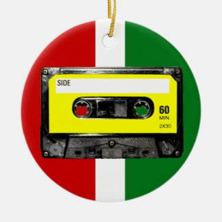Yellow Label Vintage Cassette Round Ceramic Decoration