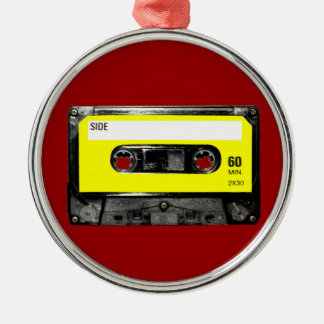 Yellow Label Vintage Cassette Silver-Colored Round Decoration
