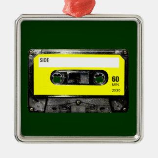 Yellow Label Vintage Cassette Silver-Colored Square Decoration