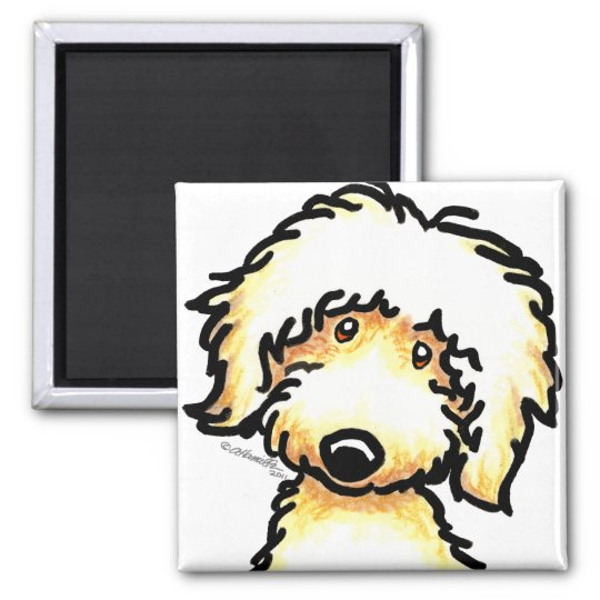 Yellow Labradoodle Art Square Magnet