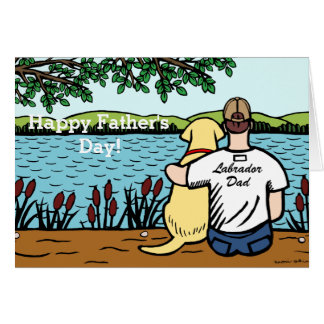 Yellow Labrador and  Dad Greeting Card