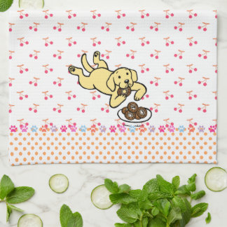 Yellow Labrador and Doughnuts Kitchen Towels