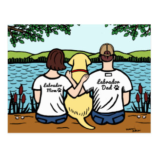 Yellow Labrador and Mom and Dad Postcard