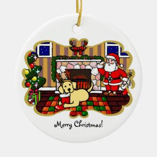 Yellow Labrador and Santa Christmas Cartoon Round Ceramic Decoration