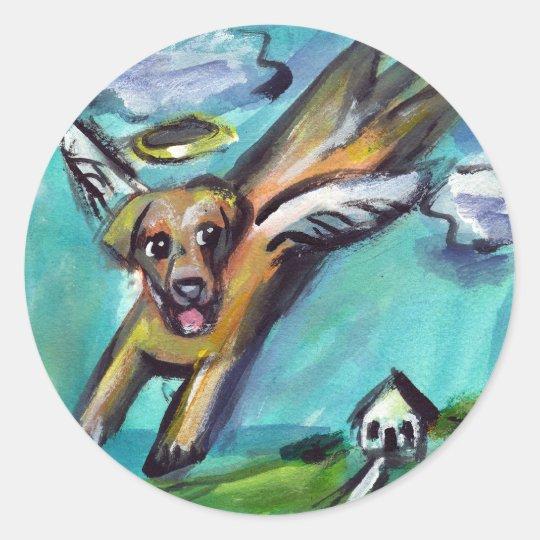 yellow labrador angel classic round sticker