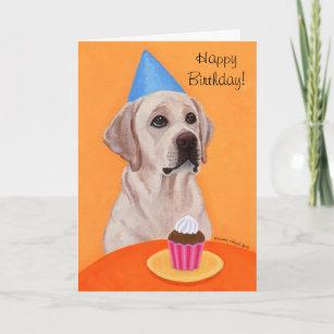 Yellow Labrador Birthday Cupcake Painting Card