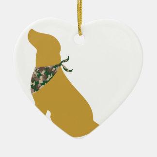 Yellow Labrador / Camo Bandana Ceramic Heart Decoration